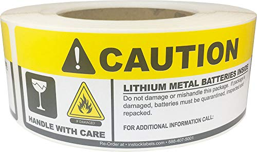Caution Lithium Batteries Inside Labels Handle with Care 2 x 5.625 Inch 500 Adhesive Stickers