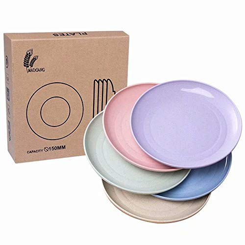 Seyee-bro Wheat Straw Plates - 5 PCS 5.9 Inch Dinner Bread Butter Appetizer Dessert Plates Healthy for Kids,Children,Toddler & Adult