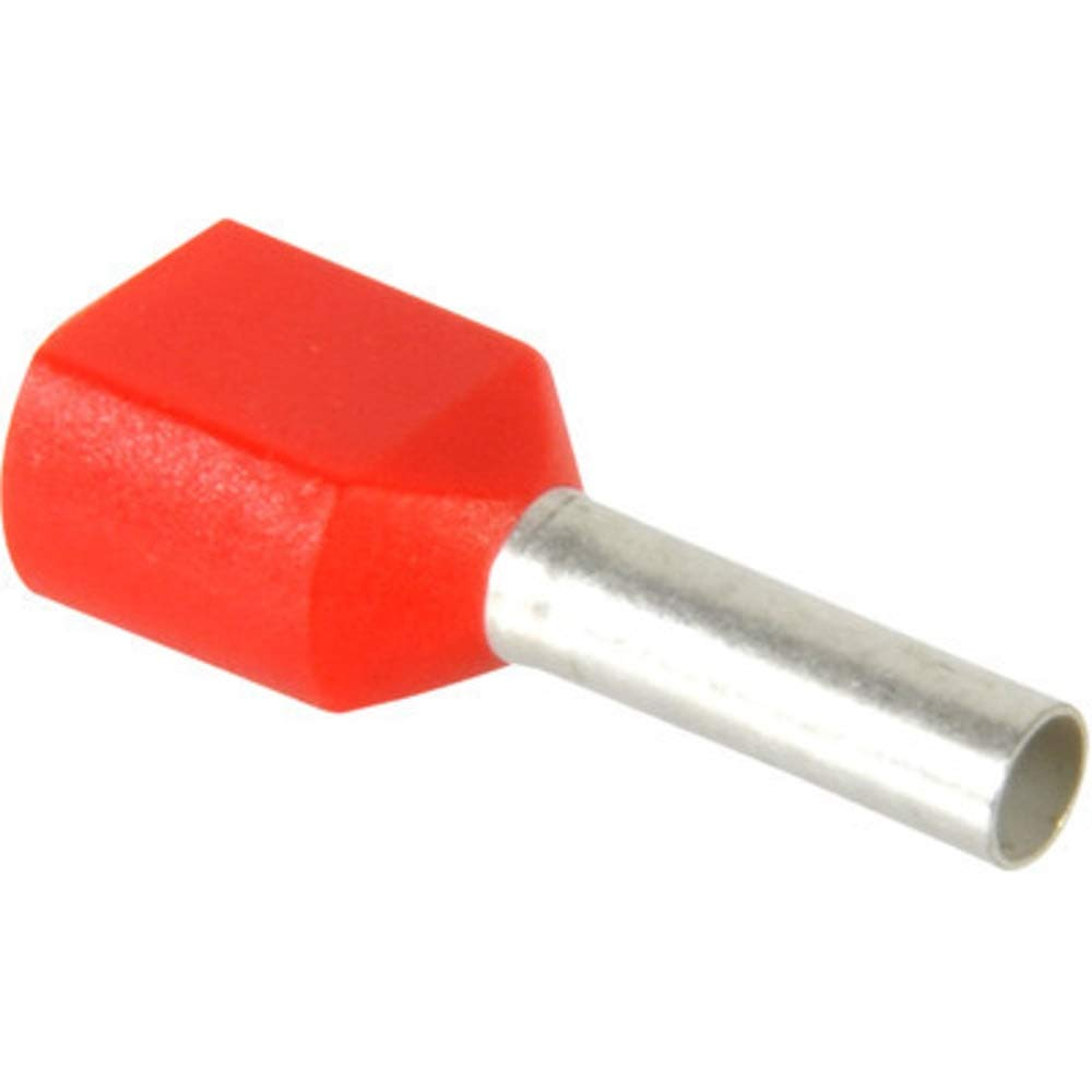 Twin Wire Ferrule; 2x16 AWG; Insulated; 16mm; 8mm; 2.3mm dia; Copper; Red
