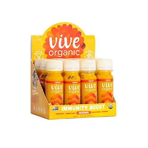 Vive Organic Immunity Boost Original (2 oz, 12 count) Immunity Wellness Shot with Cold-Pressed Ginger, Turmeric…