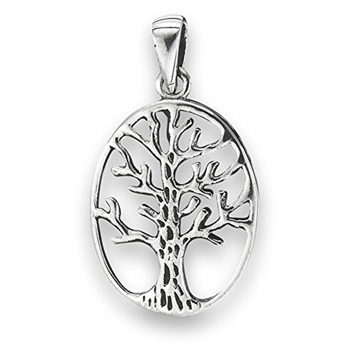 Oval Tree of Life Pendant .925 Sterling Silver Detailed Cutout Branch Charm - Silver Jewelry Accessories Key Chain Bracelet Necklace Pendants ()