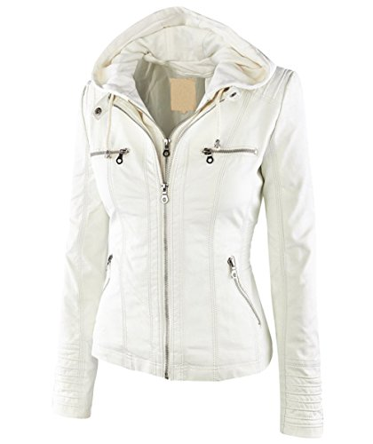 - Springrain Women's Casual Stand Collar Detachable Hood PU Leather Jacket (X-Large, White)