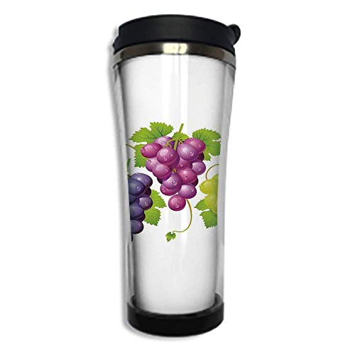 Travel Coffee Mug 3D Printed Portable Vacuum Cup,Insulated Tea Cup Water Bottle Tumblers for Drinking with Lid 14.2oz(420 ml)by,Grapes Home Decor,Three Cluster of Ivy Burdy Region Blending Fresh Pictu
