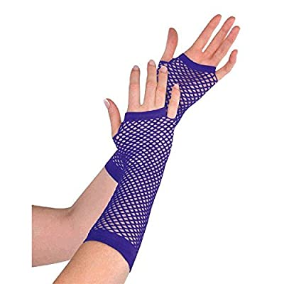 Amscan Fishnet Long Gloves, Party Accessory, Purple: Toys & Games