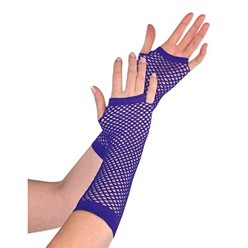 Party Perfect Team Spirit Fishnet Glove Accessory, Purple, Nylon , 9