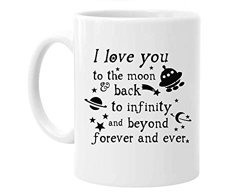 Valentine's Day Gift - 11 Ounces Funny Quotes Saying I Love You To the Moon And Back Coffee Tea White Mugs Cup, Pefect Gift for Lovers / Couples - Moon White Cup