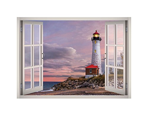 Lighthouse View Window 3D Wall Decal Art Removable Wallpaper Mural Sticker Vinyl Home Decor West Mountain W146 (MEDIUM (32''W x 23''H)) ()