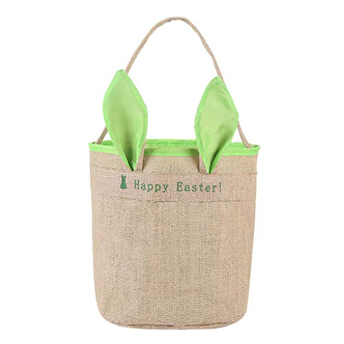 Lovely Easter Egg Basket Holiday Rabbit Bunny Printed Canvas Bag Gift Carry Eggs Candy Bag -
