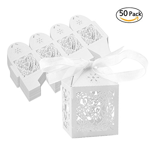 Wedding Candy Boxes【50Pcs】with Ribbons Lovne Bridal Shower Favor Gift Bags (White) (Halloween Candy Opened)