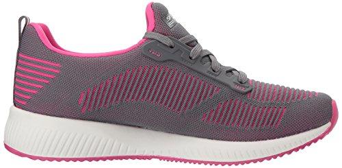Pink Gris Cordones para Mujer Twinning Bobs Zapatillas Squad Charcoal sin Skechers XvxTn