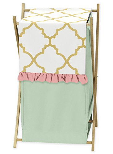 Sweet Jojo Designs Clothes Laundry Hamper for Ava Mint Coral White and Gold Trellis Girls Bedding Collection by Sweet Jojo Designs