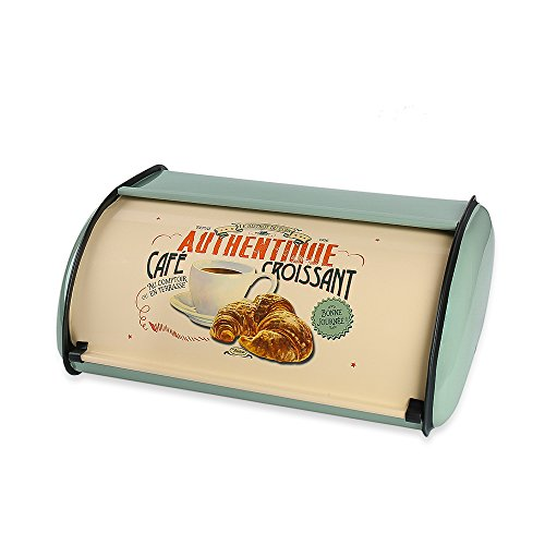 Hot Sales X459 Metal Bread Box/Bin/kitchen Storage Containers/Home KitChen Gifts with Roll Top Lid (light - Bread Blue Box