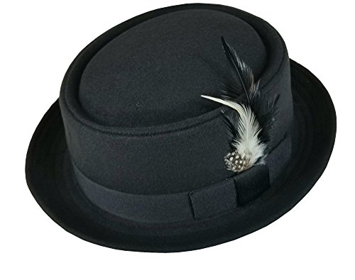 Men's Classic Wool Felt PorkPie Fedora Hats Black DTF1678 (S/M) ()