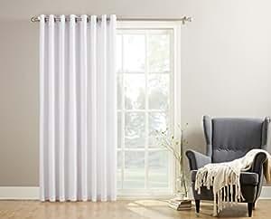 "No. 918 Montego Casual Textured Patio Door Curtain Panel, 100"" x 84"", White"