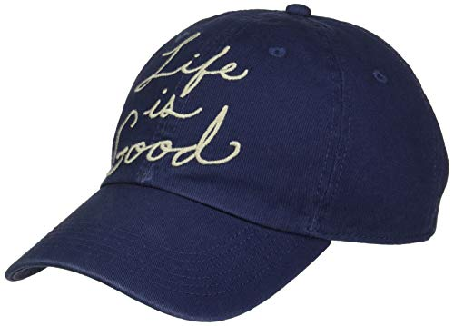 Life is Good Chill Cap Baseball Hat Collection,Script,Darkest Blue