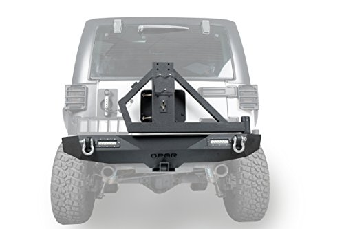 Opar Different Trail Rear Bumper w/ Hitch Receiver & 2x 18W LED Accent Lights & Tire Carrier for 07-18 Jeep Wrangler & Wrangler Unlimited JK