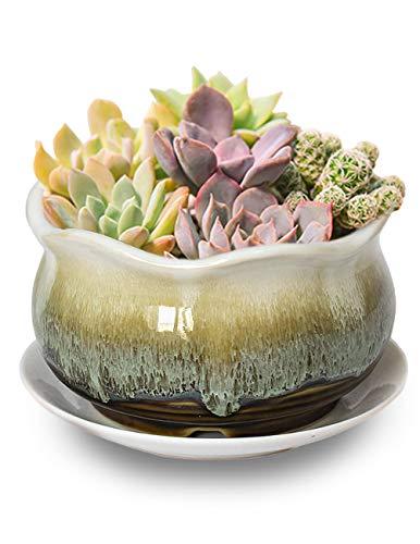 Dahlia 5.5'' Inch Rustic Drip Glazed Ceramic Planter/Succulent Pot/Plant Pot, Brown