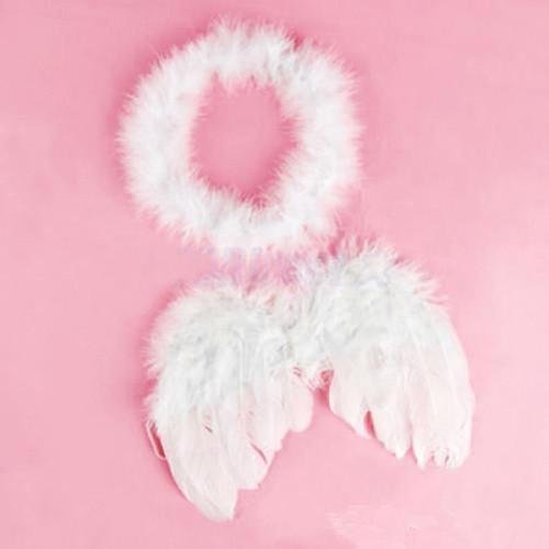 OLIVE US-Baby Infant Toddler Newborn Kids Angel Costume Feather Wings Fairy Props White H