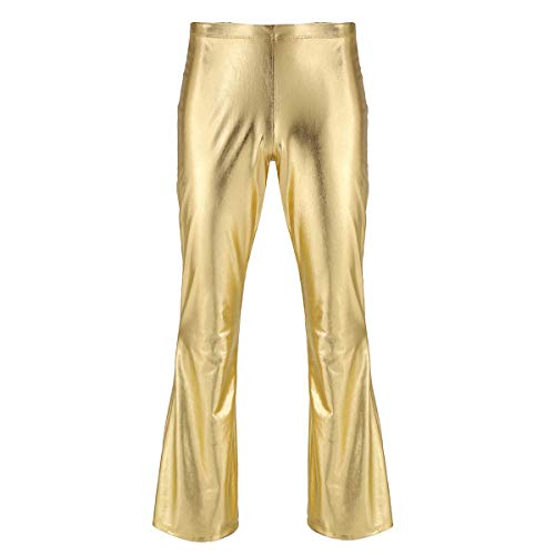 YiZYiF Men's PVC Leather 60s 70s Shiny Metallic Long Pants Bell Bottom Flared Trousers Gold X-Large -