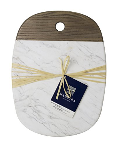 Madeira by Architec Ash Wood & White Marble Serving Platter, 12 by 16-inches ()