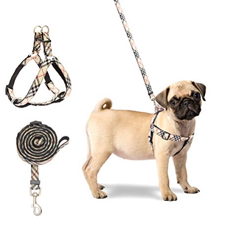 BINGPET No Pull Dog Harness and Leash - Step in Puppy Harness with Leash Set for Small Dogs (Plaid) (Dog Collar Harness Leash Set)