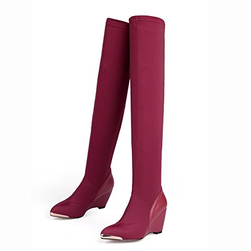 Material Soft Decoration with Heels Blend Materials Claret High Allhqfashion Metal Women's Boots nB7fII
