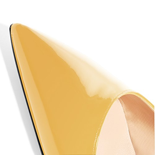Modemoven Women's Yellow Patent Leather Pointed Toe Slingback Ankle Strap Kitten Heels Pumps Evening Stiletto Shoes - 10.5 M US by Modemoven (Image #6)