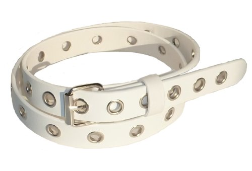 One Grommet - BeltsandStuds Men Women One Row Silver Grommet Studded Skinny Belt M 34 White