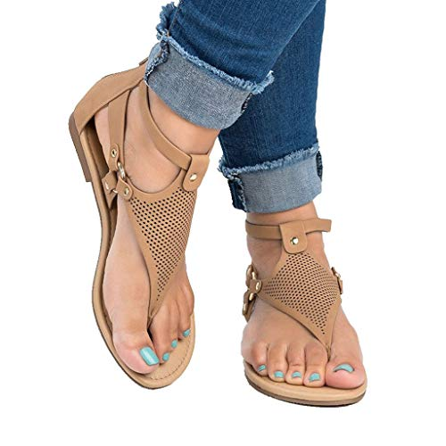 (Women's T-Strap Flat Sandal Summer Roman Open Toe Beach Bohemia Ankle High Zipper Toepost Sandals (US:8.5, Brown) )