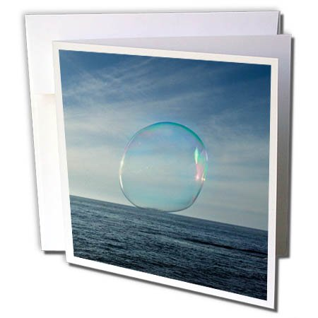 3dRose Danita Delimont - Oceans - USA, California, La Jolla. Floating bubble and ocean. - 12 Greeting Cards with envelopes (gc_278552_2)