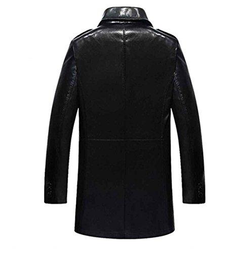 invierno Chaqueta coffee hombres prendas de negocios grueso cuero abrigo hombres piel PU abrigos suave chaqueta m paño de de los de 170 sintética masculina y rwrBx7q4