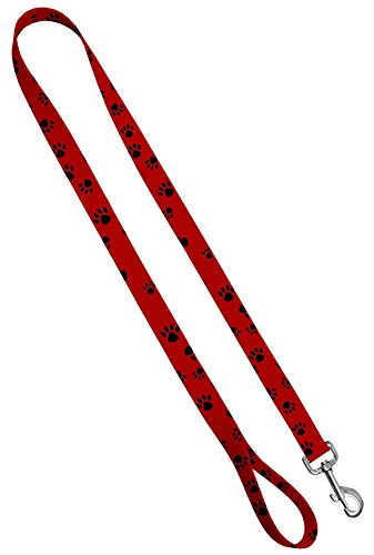 Moose Pet Wear Deluxe Dog Leash - Patterned Heavy Duty Pet Leashes, Made in the USA - 1 Inches x 6 Feet, Puppy Paws Black On Red