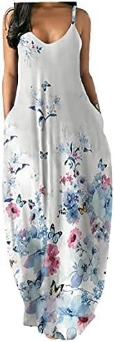 Vrouwen Maxi Dress Summer Gedrukt Spaghetti Strap Jurk met zakken Wit M