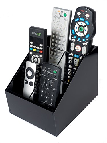 Customized Acrylic TV Remote Control Holder Organizer – Bedside, Coffee or End Table Remotes Caddy – Thick Black Lucite with Clear Dividers – by Unum