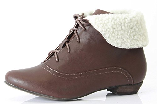 WOMENS LADIES FLAT LOW HEEL LACE UP PIXIE ANKLE BOOTS SHOES SIZE Style C - Brown Faux Leather hdnIV5269v