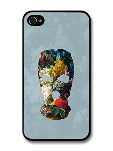 Balaclava Illustration on Flower Painting Goth Grunge case for iPhone 4 4S