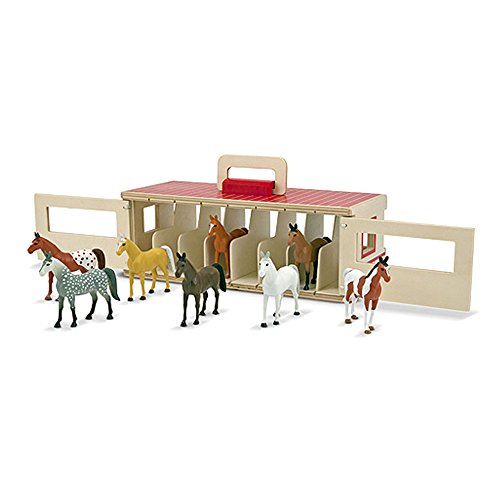 41PswC E9tL - Melissa & Doug Take-Along Show-Horse Stable Play Set With Wooden Stable Box and 8 Toy Horses