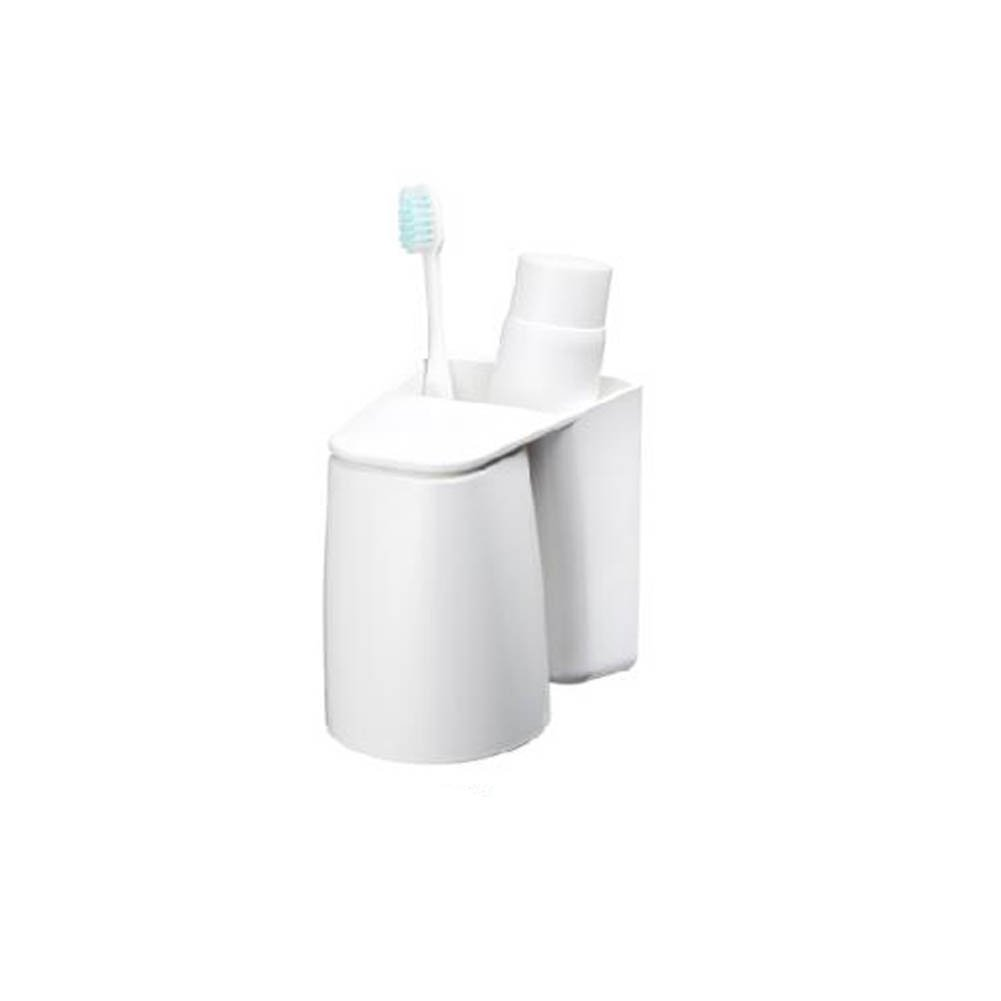Eforlike 1 Piece White Toothbrush and Toothpaste Holder with A Wash Cup