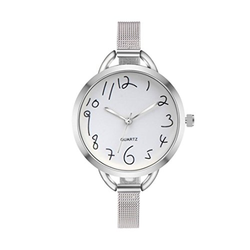 Clearance Sale!Women Stainless Steel Mesh Band Watches,Shinericed Fashion Women Casual Analog Pointer Quartz Wrist Watch (Silver) (Watch Pointer Woman Wrist)