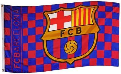 Barcelona FC Grande a Cuadros partidarios Bandera con Cresta Logo 5 ft x3ft: Amazon.es: Hogar