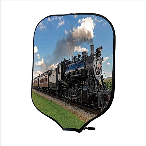 iPrint Neoprene Pickleball Paddle Racket Cover Case,Steam Engine,Vintage Locomotive in Countryside Scenery Green Grass Puff Train Picture,Blue Green Black,Fit for Most Rackets - Protect Your Paddle