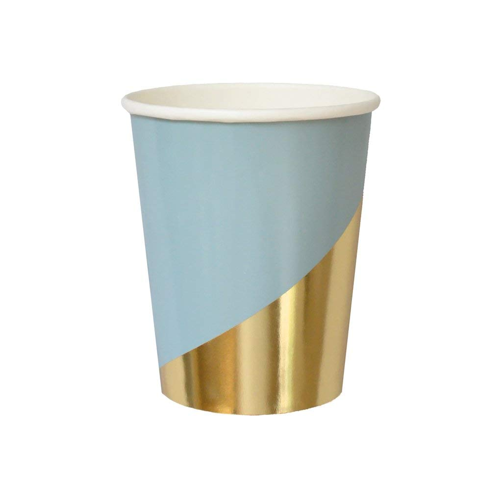 Blue w Gold Colorblock Paper Cups - Birthday, Wedding, Showers Party Disposable Cups - Harlow & Grey Malibu (24 Count)