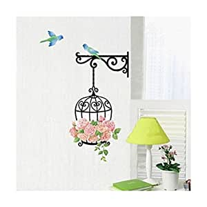 Tongshi Pájaro Flor Fashion Pared Sticker Decal Decoración Vinilo removible Mural Sticker