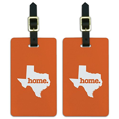 (Graphics & More Texas Tx Home State Luggage Suitcase Id Tags-Solid Orange, White)