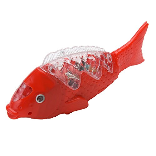Mbros.KRJW Electric Fish Toy Funny Ground Walking Fish & Music Sound & Luminous Creativity Cute Cartoon Plaything 1.5V AA Battery Powered Toy for Baby Boys Girls Children Have 3 Batteries. - Music Fish