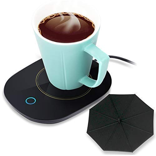Mug Warmer Coffee Warmer with Automatic Shut Off to Keep Temperature Up to 131℉/ 55℃ with a Silicone Mug Cover Safely Use for Office/Home to Warm Coffee Tea Milk Candle Heating Wax (Black)
