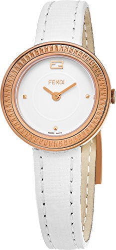 Fendi MyWay Women's-small 28 MM White Face White Leather Strap Swiss Plated Rose Gold Watch - Best Cheap Sunglasses Reddit