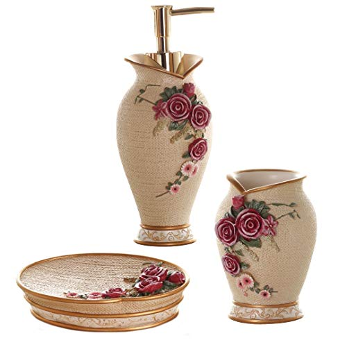 Glarcy Bathroom Accessories Set Completes - Soap Dispenser, Tumbler/Toothbrush Holder, and Vanity Tray - Luxury Hand Painted Decor (Accessories Bathroom Luxury Sets)