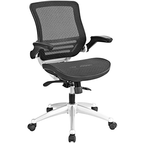 Modway Edge All Mesh Office Chair With Flip-Up Arms In Black – Ergonomic Desk And Computer Chair