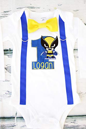 Boy first birthday Logan A Wolverine First birthday baby boy cake smash one year outfit birthday outfit birthday Logan birthday cake smash wolverine]()